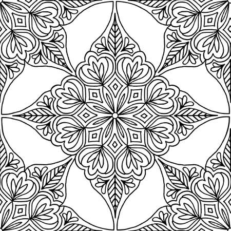 Hand drawn seamless pattern with floral mandala elements