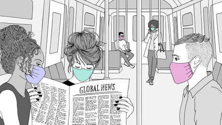 Hand drawn illustration of young people sitting on the underground / subway with face masks Иллюстрация