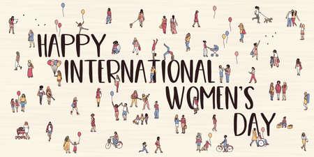 Tiny hand drawn women walking through the street - Happy International Women's Day! Ilustração