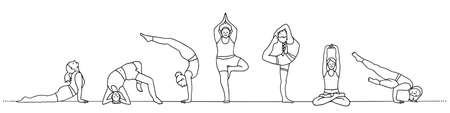 Hand drawn banner of diverse young women practicing various yoga asanas