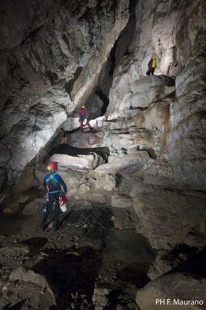 speleology: Ceselle in Pittari SA, Cozzetta cave Stock Photo