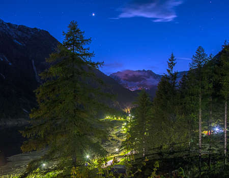 Gran Paradiso Park - Ceresole Reale_HDR. Night in Gran Paradiso National Park - Ceresole Reale - 1.620 mslm Piedmont  Valle dAosta - Italy. Stock Photo