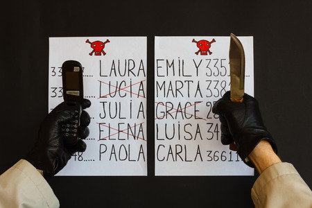 assailant: hands of the stalker wrapped in gloves black with the phone  and the knife are the sign of a threat of death for women whose names appear on the list