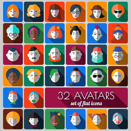 unshaven: set of flat icons. 32 avatars of people different ages