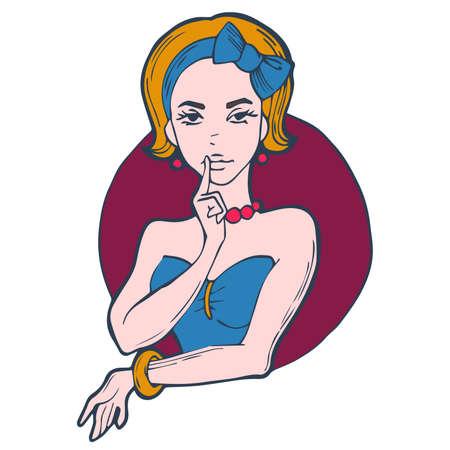 burgundy ribbon: ritratto di una ragazza con fiocco blu. illustrazione vettoriale