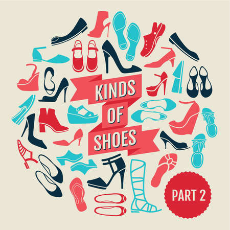 wedge: kinds of shoes. part 2. set of flat icons Illustration
