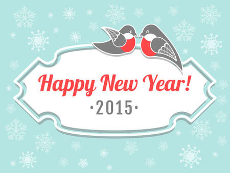 finch: New year card with bullfinches and snowflakes
