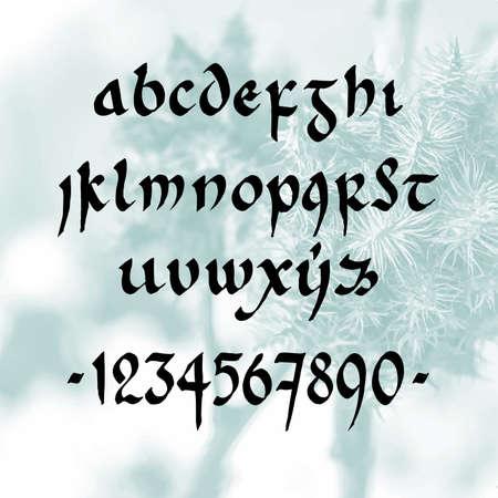 minuscule: handwritten font minuscule white-blue background