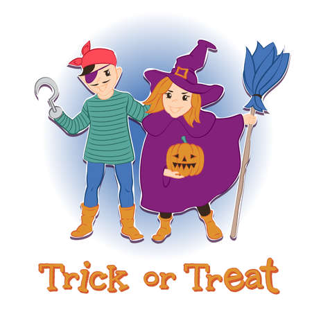 october 31: the girl in the witch costume, the boy in pirate costume. illustration for Halloween
