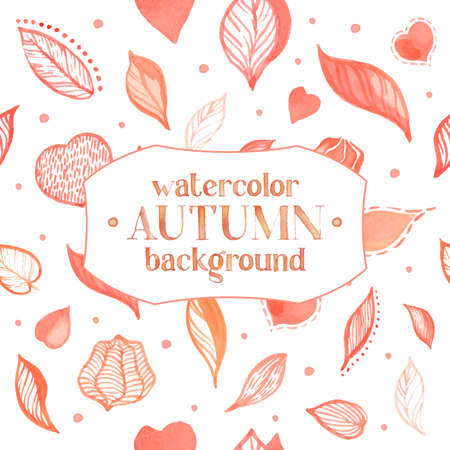 husk: watercolor pattern with autumn leaves, husk and hearts