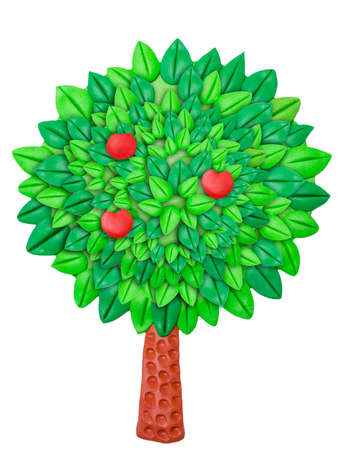 wood molding: green clay Apple tree on a white background with red apples Stock Photo