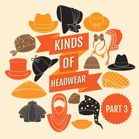 coolie hat: Kinds of headwear. Part 3. Flat icons