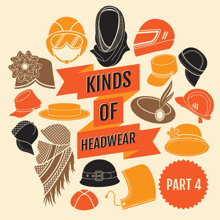 Kinds of headwear. Part 3. Flat icons