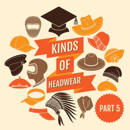 franela: Tipos de sombrerer�a. Parte 5. iconos planos Vectores