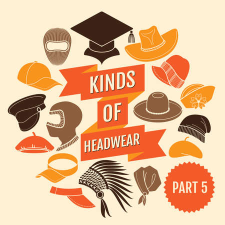Kinds of headwear. Part 5. Flat icons