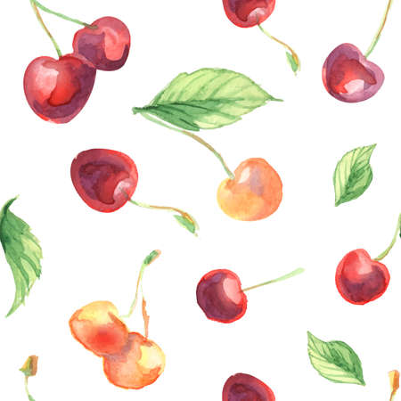 petiole: seamless pattern with cherries and leaves on a white background