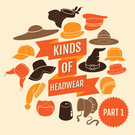 pillbox: Kinds of headwear. Part 1. Flat icons