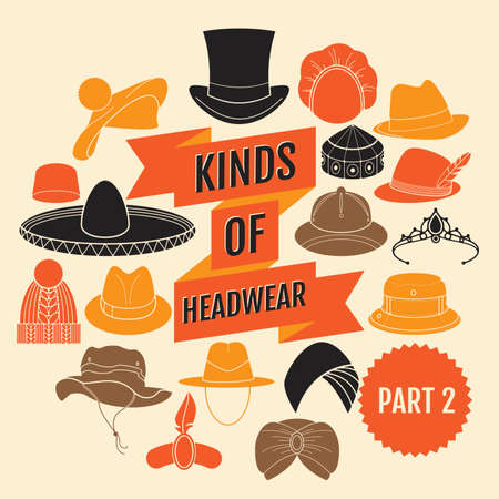 chimney pot: Kinds of headwear. Part 2. Flat icons
