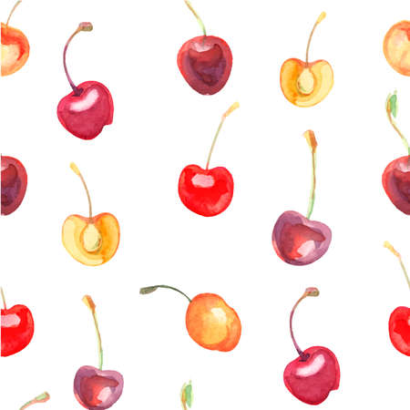petiole: seamless pattern with cherries and sweet cherries on a white background