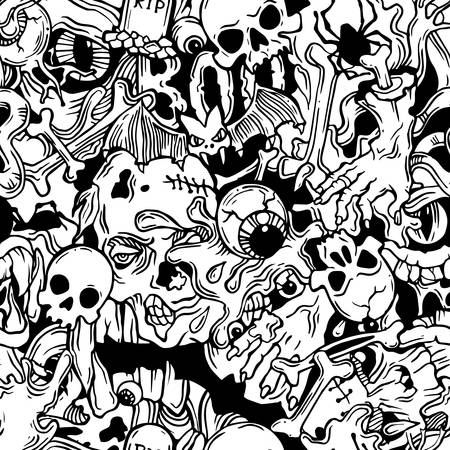 Seamless halloween pattern with horror elements in black and white
