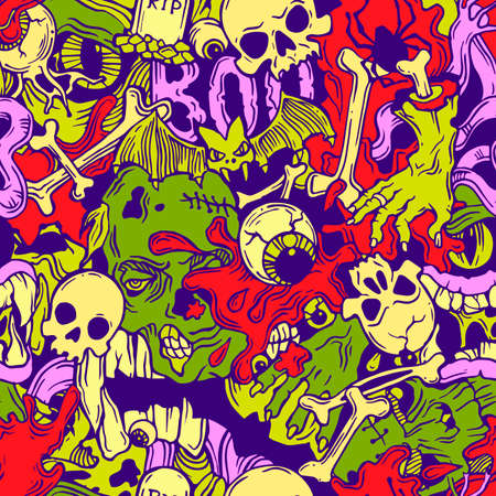 samhain: Color seamless halloween pattern with horror elements Illustration