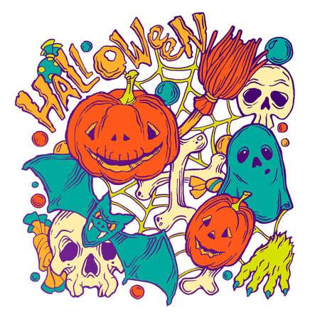 samhain: Tarjeta para Halloween con fantasmas, calabazas, de la pata, el palo y la escoba en el fondo blanco