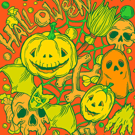 samhain: Seamless halloween pattern with ghost, pumpkins, paw, bat and broom on the orange background