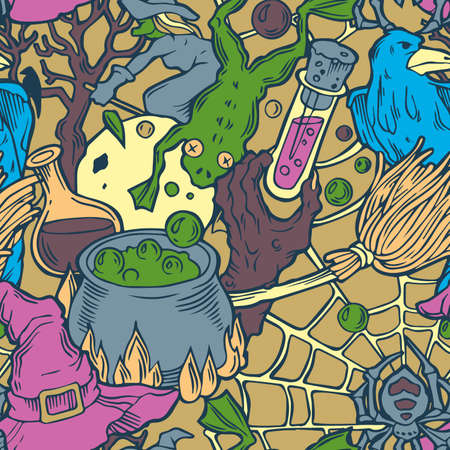 october 31: Color seamless halloween pattern with witch stuff