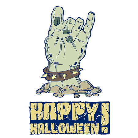 samhain: Card for Halloween with zombie hand and stone text Illustration