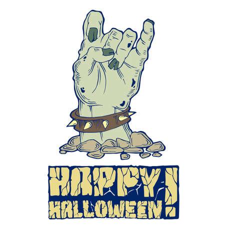samhain: Tarjeta para Halloween con zombie mano y el texto de piedra Vectores