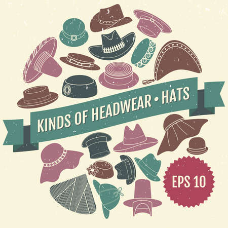 Set of vector flat hats with grunge texture Illustration
