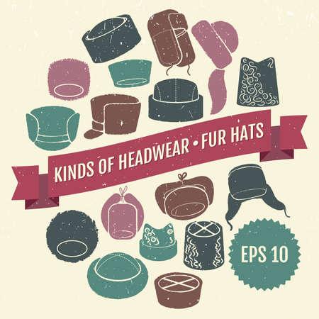 bearskin hat: Set of vector flat hats with grunge texture Illustration