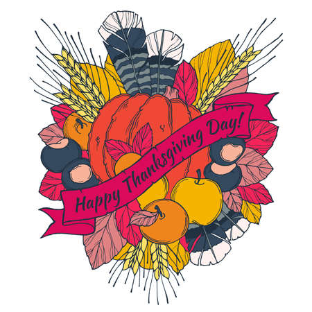 spikes: Thanksgiving Day greeting card with spikes, feathers, chestnuts, vegetables and fruits  in cartoon style on a white background