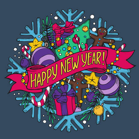 new year greeting: New Year greeting card with holiday stuff on color background Illustration