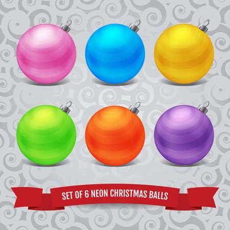 frosty: Set of six neon christmas balls on the frosty pattern background