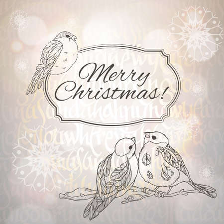 paillette: Merry Christmas greeting card with linear handdrawn bullfinches and snowflakes on the grey gradient and typographic background with sunlight. Vector EPS10. Illustration
