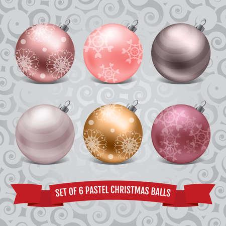 pastel color: Set of six pastel christmas balls on the frosty pattern background Illustration