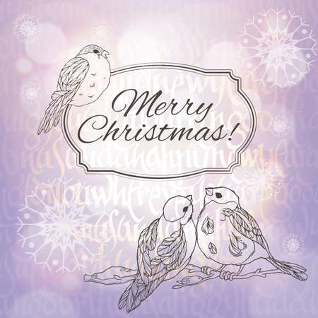 paillette: Merry Christmas greeting card with linear handdrawn bullfinches and snowflakes on the  lilac gradient and typographic background with sunlight. Vector EPS10. t
