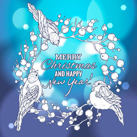 paillette: Christmas and New Year linear handdrawn illustration with wreath, berries and bullfinches. Vector Greeting card