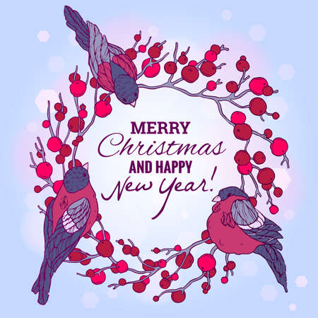 paillette: Christmas and New Year illustration with wreath, berries and bullfinches. Eps10