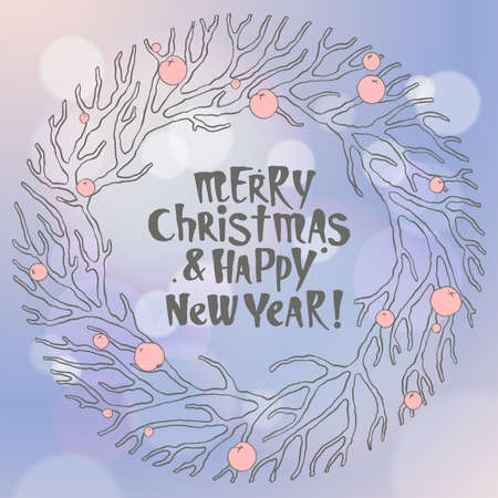 paillette: Merry Christmas and New Year illustration with wreath in blue and lilac color. Brunches and berries. Typographic greeting card.