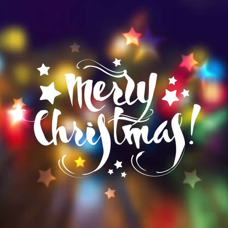 paillette: Christmas greeting card with lettering and blurring background. Vector eps10.