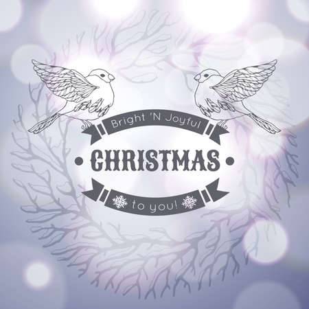 paillette: Vintage Merry Christmas greeting card with linear handdrawn bullfinches on the silver gradient background with sunlight. Vector EPS10.