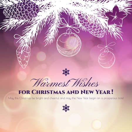 paillette: Vintage Christmas and New Year greeting card with handdrawn fir branches, bumps and christmas balls Eps 10 Illustration