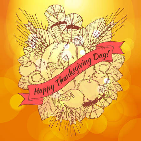 spikes: Thanksgiving Day greeting card with handdrawn spikes, feathers, chestnuts, vegetables and fruits  in cartoon style on the bokeh background. Vector EPS10 Illustration