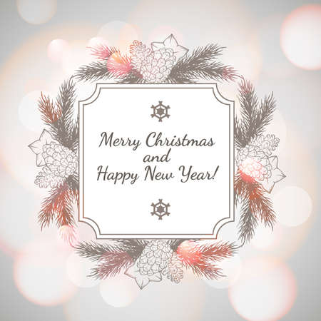 paillette: New Year and Christmas Greeting card with wreath and light bokeh background