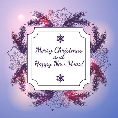 greeting card background: New Year and Christmas Greeting card with wreath and light bokeh background