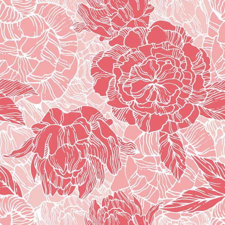 pfingstrosen: Nahtlose Muster mit roten Pfingstrosen. Line art