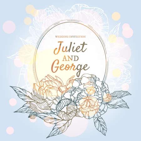 peonies: Wedding invitation card with wreath of peonies Illustration