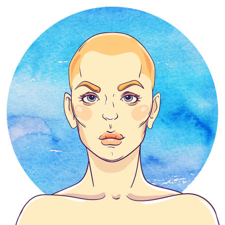 bald girl: portrait of a young girl with a bald head on watercolor abstract background